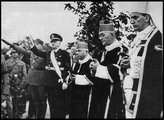 Arcebispo Stepinac (à direita) e Ustashis